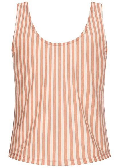 ONLY Damen Cropped Tank Top Deko Knopfleiste Streifen Muster peach melba orange