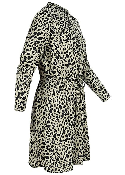 ONLY Damen NOOS V-Neck Krepp Tunika Kleid Taillenzug Leo Print seagrass grün