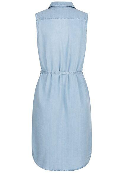 ONLY Damen Jeans Blusen Kleid inkl. Bindegürtel 2 Brusttaschen hell blau denim