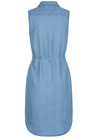 ONLY Damen Jeans Blusen Kleid inkl. Bindegürtel 2 Brusttaschen medium blau denim