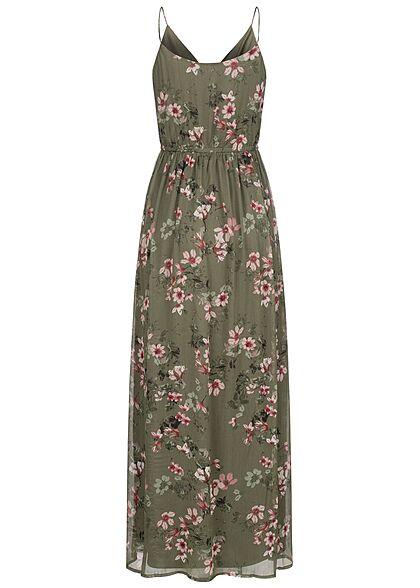 Vero Moda Damen V-Neck Maxi Kleid Gummibund 2-lagig Blumen Muster kalamata oliv