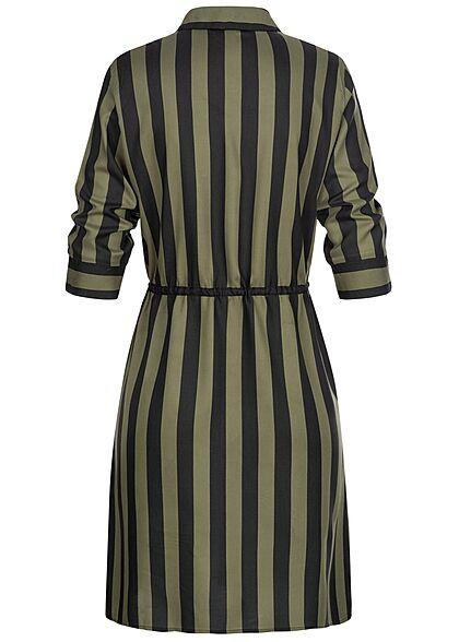 ONLY Damen NOOS 3/4 Arm Blusen Kleid Streifen Muster Taillenzug beetle grün