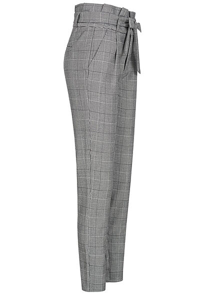 Vero Moda NOOS Damen High-Waist Paperbag Stoffhose Bindegürtel Karo Muster grau