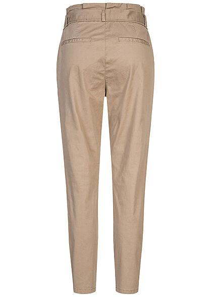 Vero Moda NOOS Damen High-Waist Paperbag Stoffhose 4-Pockets silver mink beige