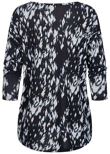 ONLY Damen NOOS 4/5 Arm Shirt Grafik Print Muster Vokuhila schwarz