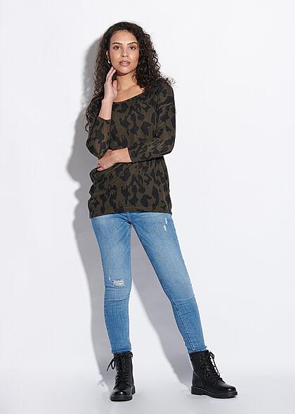ONLY Damen NOOS 4/5 Arm Shirt Animal Print Muster Vokuhila grape leaf grün schwarz