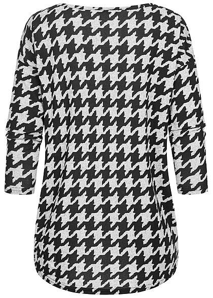 ONLY Damen NOOS 4/5 Arm Shirt Animal Print Muster Vokuhila hell grau schwarz