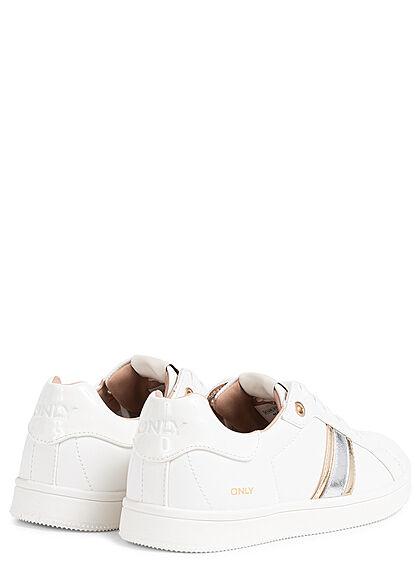 ONLY Damen Schuh Kunstleder Sneaker zum schnüren Streifen Applikation weiss gold silber