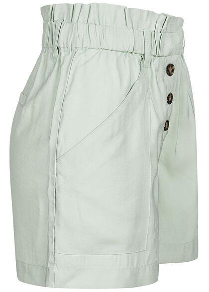 ONLY Damen High-Waist Viskose Paperbag Shorts Knopfleiste 4-Pockets surf spray grün
