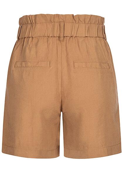 ONLY Damen High-Waist Viskose Paperbag Shorts Knopfleiste 4-Pockets tobacco braun