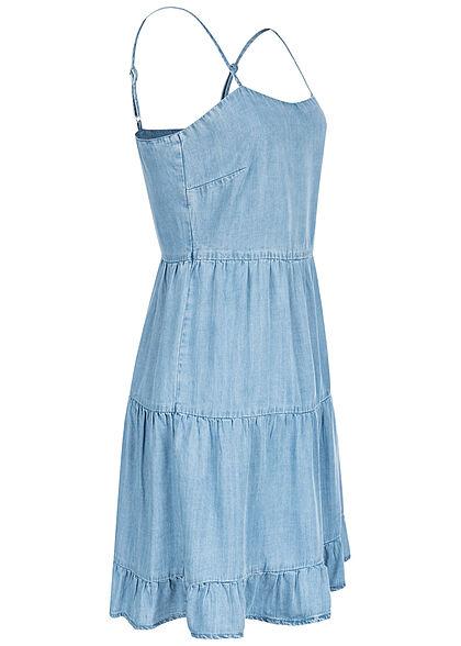 ONLY Damen Lyocell Denim Trägerkleid Stufenoptik hell blau