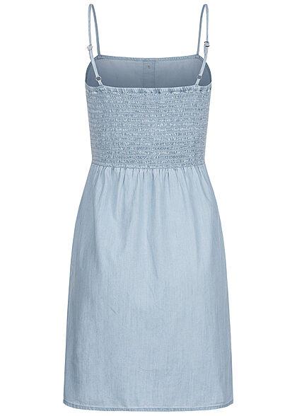ONLY Damen Denim Mini Trägerkleid Deko Knopfleiste hell blau denim