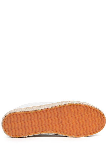 Hailys Damen Schuh Canvas Sneaker mit hoher Bastsohle off weiss