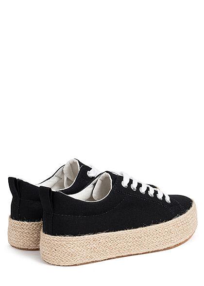 Hailys Damen Schuh Canvas Sneaker mit hoher Bastsohle schwarz