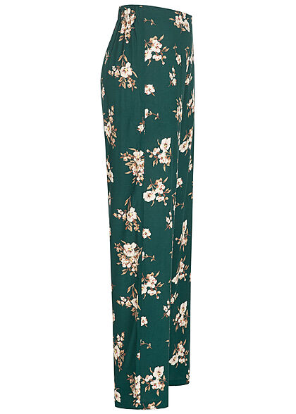 Vero Moda Damen NOOS Viskose High-Waist Sommer Hose Blumen Muster ponderosa blau