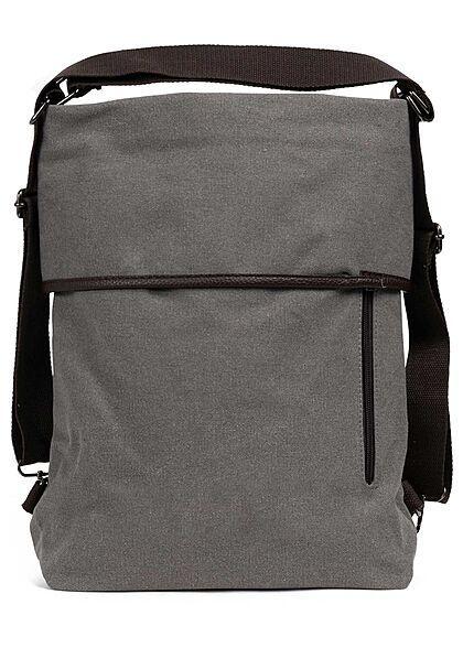 Zabaione Damen Große Canvas Handtasche oder Rucksack viele Fächern ca. 40x38cm hell grau