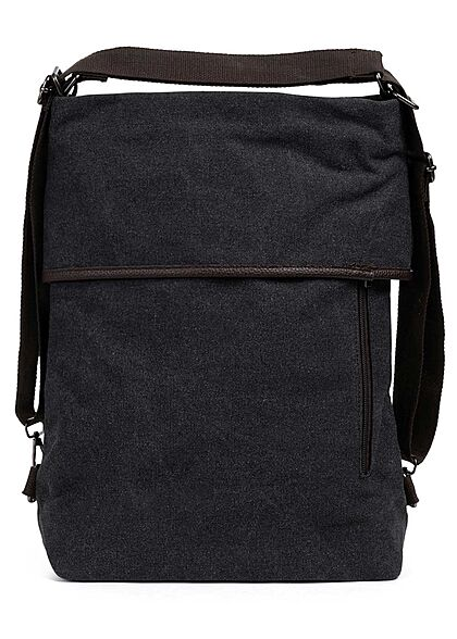 Zabaione Damen Große Canvas Handtasche oder Rucksack viele Fächern ca. 40x38cm d. grau