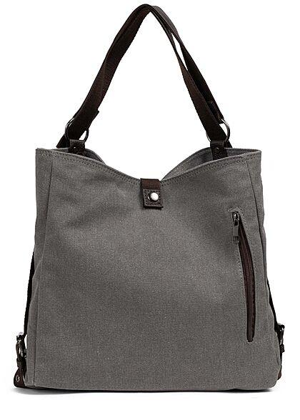 Zabaione Damen Canvas Rucksack oder Handtasche mit vielen Fächern ca. 31x37cm hell grau