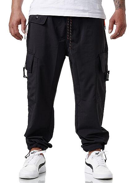 Sublevel Herren Cargo Sweat Pants Stoffhose Tunnelzug 6-Pockets schwarz