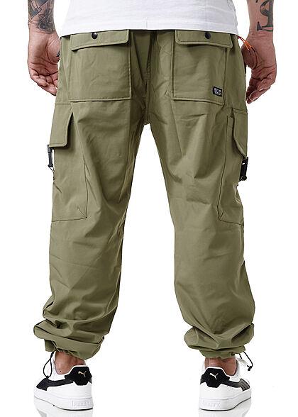 Sublevel Herren Cargo Sweat Pants Stoffhose Tunnelzug 6-Pockets ivy oliv grün