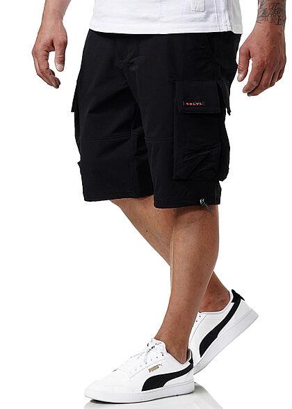 Sublevel Herren Cargo Bermuda Shorts 2-Pockets schwarz
