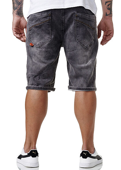 Sublevel Herren Bermuda Jeans Shorts Tunnelzug 5-Pockets acid grau denim