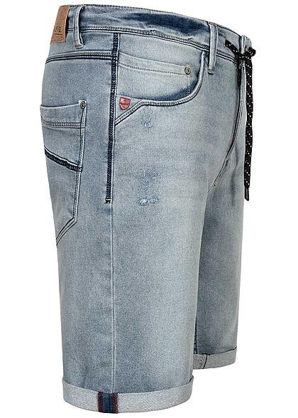 Sublevel Herren Bermuda Jeans Shorts Tunnelzug 5-Pockets hell blau denim