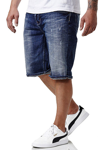 Sublevel Herren Bermuda Jeans Shorts 5-Pockets dunkel blau denim