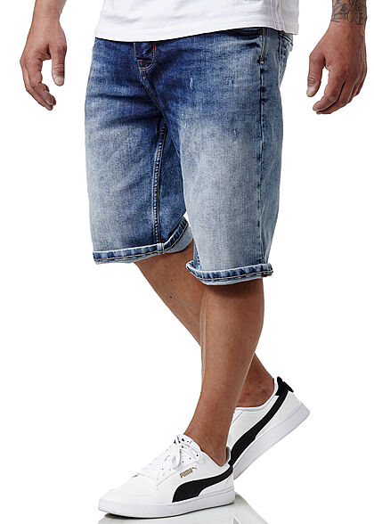 Sublevel Herren Bermuda Jeans Shorts 5-Pockets medium blau denim