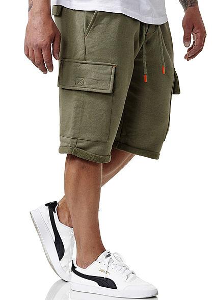 Sublevel Herren Cargo Sweat Shorts Tunnelzug 6-Pockets ivy oliv grün