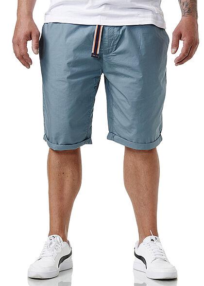 Sublevel Herren Chino Bermuda Shorts Bindegürtel 4-Pockets tempest blau