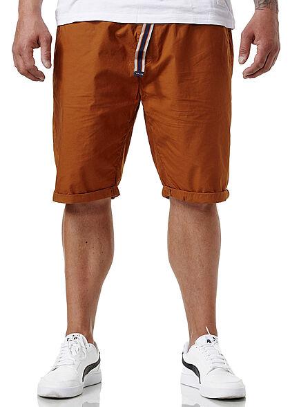 Sublevel Herren Chino Bermuda Shorts Bindegürtel 4-Pockets tawny braun