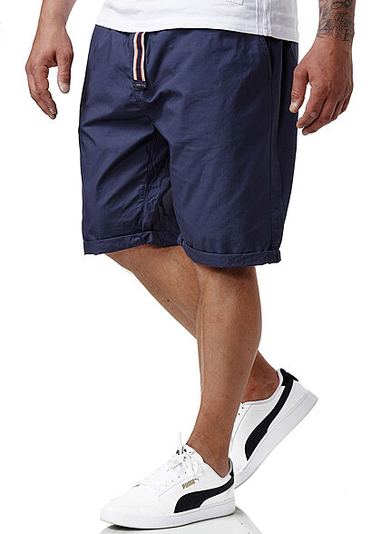 Sublevel Herren Chino Bermuda Shorts Bindegürtel 4-Pockets navy blau
