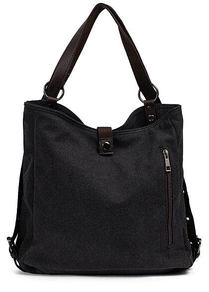 Zabaione Damen Canvas Rucksack oder Handtasche mit vielen Fächern ca. 31x37cm d. grau