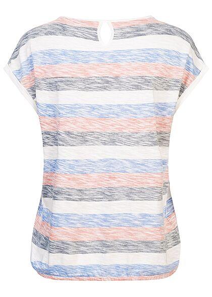 Tom Tailor Damen T-Shirt Gummibund am Saum Inside Streifen Print multicolor