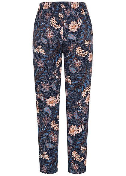 Tom Tailor Damen Viskose Stoffhose Gummibund Loose Fit 2-Pockets Blumen Muster navy