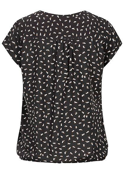 Tom Tailor Damen V-Neck Kurzarm Puffer Bluse Geometrisches Muster schwarz