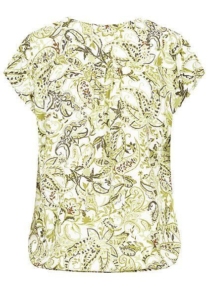 Tom Tailor Damen V-Neck Kurzarm Puffer Bluse Paisley Print grün weiss