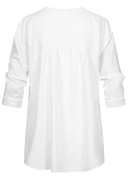 Tom Tailor Damen 3/4-Arm V-Neck Bluse Tunika Leinen Optik weiss