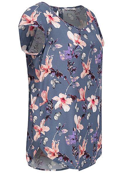 ONLY Damen Blusen Shirt Knopf hinten Blumen Muster vintage indigo blau rosa