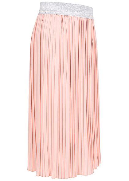 Hailys Kids Mädchen Midi Plissee Falten Rock Glitzer Gummibund blush rosa