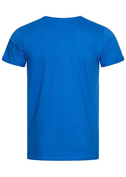 Sublevel Herren T-Shirt Easy Mind Print bright royal blau