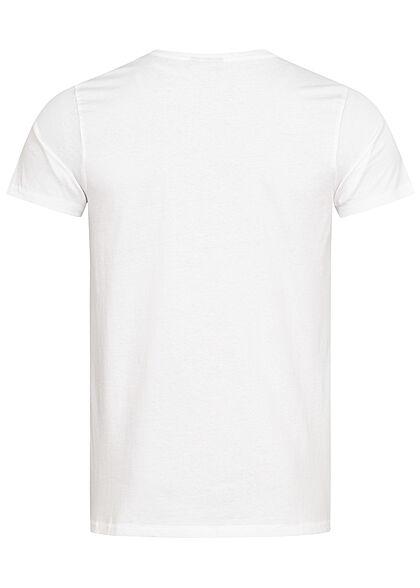 Eight2Nine Herren T-Shirt Brusttasche Floraler Print weiss