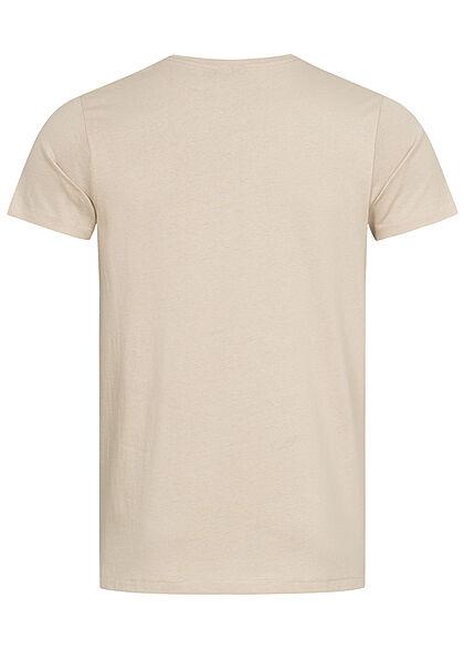 Eight2Nine Herren T-Shirt Brusttasche Floraler Print birch beige