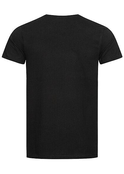 Eight2Nine Herren T-Shirt Brusttasche Floraler Print schwarz