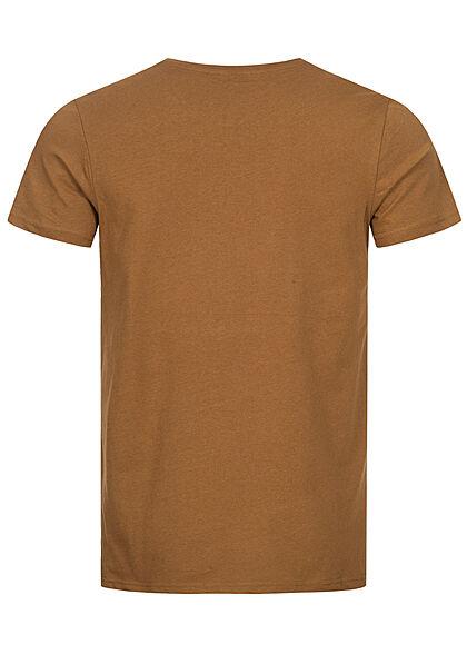 Eight2Nine Herren T-Shirt Foto Frontprint oak braun