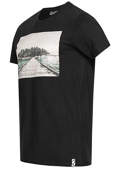 Eight2Nine Herren T-Shirt Foto Frontprint schwarz