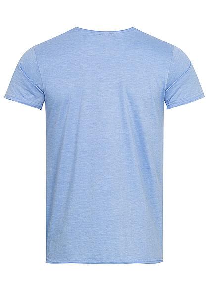 Stitch & Soul Herren T-Shirt Summer Times Palmen Print placid blau