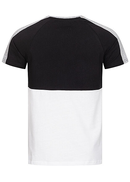 Eight2Nine Herren T-Shirt 2-Tone Identity Print by Sky Rebel schwarz weiss
