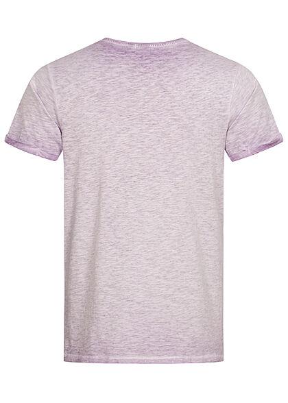 Eight2Nine Herren T-Shirt Mini Logo Print tender lila